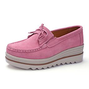 voordelige Damesinstappers & loafers-Dames Loafers & Slip-Ons Creepers Ronde Teen Leer / Tissage Volant Informeel / minimalisme Herfst winter Zwart / Geel / Bordeaux / Kleurenblok
