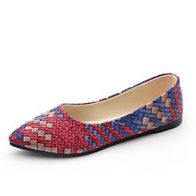 voordelige Damesschoenen met platte hak-Dames Platte schoenen Platte hak Microvezel / PU Herfst / Lente zomer Oranje / Licht Paars / Rood