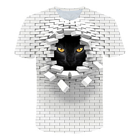 cheap Athleisure Wear-Men's T shirt Graphic 3D Animal Print Short Sleeve Club Tops Streetwear Exaggerated White