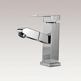 billige Nyheter-Baderom Sink Tappekran - Træk-udsprøjte Krom Centersat Enkelt Håndtak Et HullBath Taps