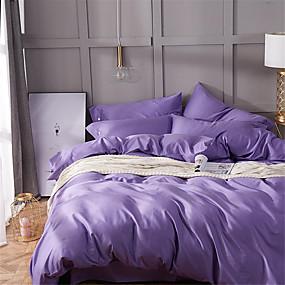 preiswerte Feste Duvet Covers-Bettbezug-Sets Solide Baumwolle Garngefärbt 4 StückBedding Sets