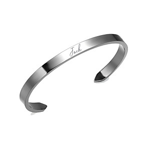 cheap Name Bracelets-Personalized Customized Bracelet Titanium Steel Classic Name Engraved Gift Promise Festival Circle 1pcs Gold Silver / Laser Engraving