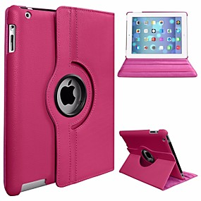 cheap iPad case-Case For Apple iPad Air 360° Rotation / Dustproof / with Stand Full Body Cases Solid Colored Hard PU Leather / PC for iPad Air