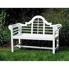 preiswerte Outdoor-Bänke-Gartenbank mit Gitterrücken aus weißem Holz