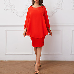 preiswerte This Summer You Are The Most Fashionable-Damen Übergrössen Grundlegend Chiffon Kleid Solide Übers Knie / Ausgehen