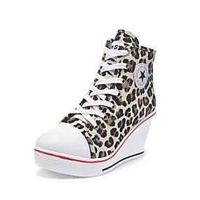 voordelige Damessneakers-Dames Sneakers Sexy Schoenen Sleehak Ronde Teen Canvas Informeel / minimalisme Lente zomer Luipaard / Luipaard