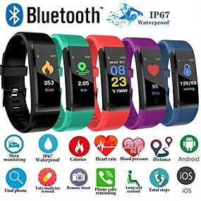 billige Spesialtilbud-id115 pluss fargeskjerm smart armbånd idrett pedometer klokke fitness kjører walking tracker hjertefrekvens pedometer smart band