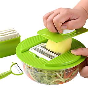 preiswerte Frucht Und Gemüse Geräte-Edelstahl + Plastik Schneidemaschine Home Küchenwerkzeug Küchengeräte Werkzeuge Neuheiten für die Küche 3 Stück