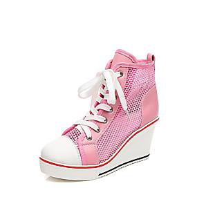 voordelige Damessneakers-Dames Sneakers Sexy Schoenen Sleehak Ronde Teen Netstof Informeel / minimalisme Lente zomer Wit / Zwart / Roze / Kleurenblok