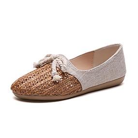 voordelige Damesschoenen met platte hak-Dames Platte schoenen Platte hak Strik Canvas / Netstof Vintage / minimalisme Lente zomer / Herfst winter Beige / Bruin