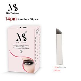 preiswerte Dauerhafte Verfassungs-Nadeln & Spitzen-50pcs manuelle Microblading Nadeln 14pin Tebori Tattoo Klingen für Permanent Make-up Augenbrauen