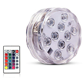 cheap Outdoor Lighting-10 Led Remote Controlled RGB Submersible Light Underwater Light for Swimming Pool Vase Bowl Garden Party Decoration Battery Operated