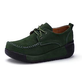 voordelige Damessneakers-Dames Suède Lente & Herfst / Herfst winter Informeel / Brits Sneakers Wandelen Creepers Ronde Teen Rood / Groen / Blauw