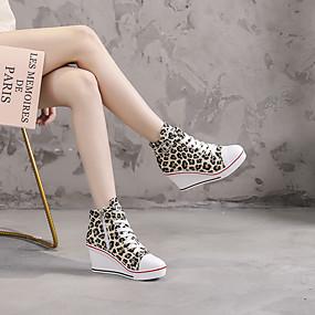 voordelige Damessneakers-Dames Sneakers Sexy Schoenen Sleehak Ronde Teen Kanten stiksel Canvas Informeel / minimalisme Lente zomer Blauw / Roze / Luipaard