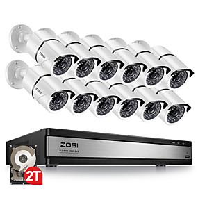 preiswerte Sicherheitssysteme-zosi 16ch 1080p Überwachungskamerasystem mit 12 2.0mp Outdoor / Indoor CCTV-Überwachungsvideokamera mit 100ft langem Nachtsicht-DVR-Kit