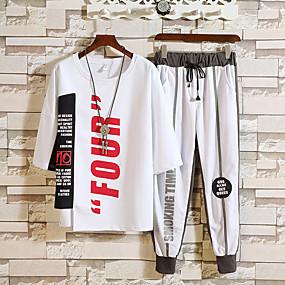 cheap Running & Jogging-Men's 2-Piece Tracksuit Streetwear 2pcs Running Breathable Sportswear Clothing Suit Half Sleeve Activewear Micro-elastic Loose