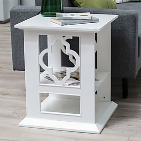 preiswerte Beistelltische-weißer 2-fach Vierpass Beistelltisch aus Holz