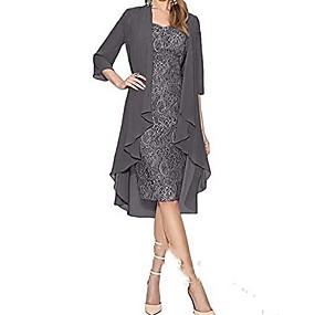 preiswerte Damenbekleidung-Damen Übergrössen Grundlegend Spitze Schlank Zweiteiler Kleid - Spitze, Solide Knielang Gurt
