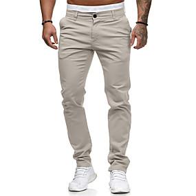 ราคาถูก New Arrivals-สำหรับผู้ชาย พื้นฐาน ขนาดของยุโรป / อเมริกา Jogger / กางเกง Chinos กางเกง - สีพื้น คลาสสิค ฝ้าย สีดำ ขาว สีแดงชมพู M L XL