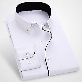 preiswerte Herrenmode-Herrn Solide - Geschäftlich / Grundlegend Baumwolle Hemd, Umlegekragen Schlank Rüsche Blau