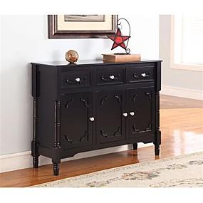 preiswerte Küchenschränke-Konsolentisch aus massivem Holz in schwarzer Ausführung mit Aufbewahrungsschubladen