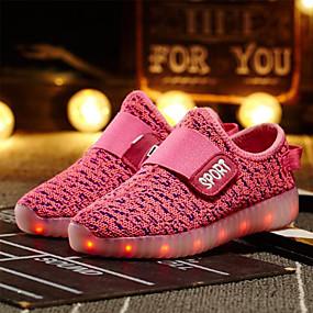 preiswerte LED Schuhe-Mädchen Leuchtende LED-Schuhe Flyknit Sneakers Kleinkind (9m-4ys) / Kleine Kinder (4-7 Jahre) / Große Kinder (ab 7 Jahren) LED Grün / Blau / Rosa Frühling / Sommer / Gummi