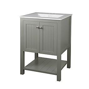 preiswerte Badezimmermöbel-grauer 24 x 22 Zoll Waschtischunterschrank mit weißer Keramikspüle
