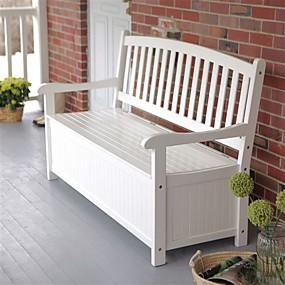 preiswerte Outdoor-Bänke-weißes Holz 4-Fuß-Außenterrasse Gartenbank Deck Box mit Lagerung