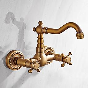 preiswerte Neu Eingetroffen-Waschbecken Wasserhahn - Verbreitete Antikes Messing Wandmontage Zwei Griffe Zwei LöcherBath Taps