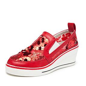 voordelige Damessneakers-Dames Sneakers Sexy Schoenen Sleehak Ronde Teen Pailletten Imitatieleer Informeel / minimalisme Lente zomer Zwart / Rood / Roze