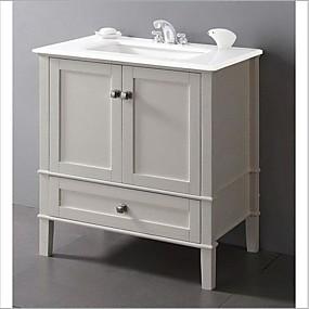 baratos Móveis-vaidade do banheiro contemporâneo em branco macio com tampo de mármore e pia retangular