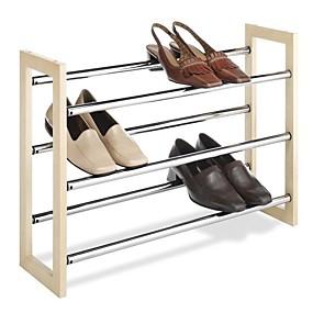 preiswerte Aufbewahrungs-Organizer-3-stufig stapelbar&Ampere; erweiterbarer Schuhschrank aus Holz&Ampere; verchromtes Metall
