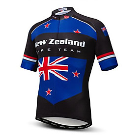 cheap Cycling & Motorcycling-21Grams Australia New Zealand National Flag Men's Short Sleeve Cycling Jersey - Bule / Black Bike Top UV Resistant Quick Dry Moisture Wicking Sports Summer Terylene Mountain Bike MTB Road Bike Cycling