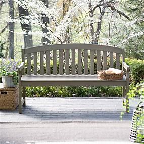 preiswerte Outdoor-Bänke-5-Fuß-Gartenbank mit gebogener Rückenlehne und Armen in Treibholzoptik