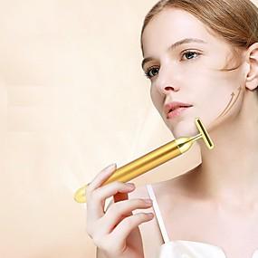 Χαμηλού Κόστους Skin Care-αδυνάτισμα πρόσωπο 24k χρυσό δονήσεις χρώματος προσώπου ομορφιά μπαρ κολλήσει δέρμα σύσφιξη ρυτίδων μπαρ ηλεκτρικό μασάζ ραβδί