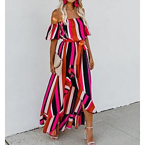 preiswerte Damenbekleidung-Damen Swing Kleid Midi Schulterfrei