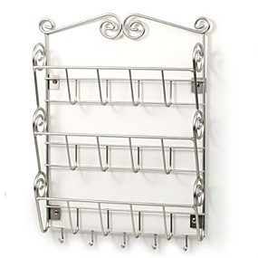 preiswerte Aufbewahrungs-Organizer-Briefhalter-Organizer zur Wandmontage aus Metall, Nickel satiniert