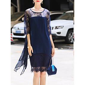 preiswerte This Summer You Are The Most Fashionable-Damen Übergrössen Street Schick Hülle Kleid - Spitze Chiffon, Geometrisch Knielang