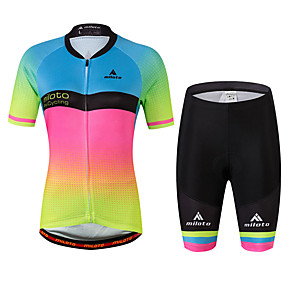 cheap Women-Miloto Women's Short Sleeve Cycling Jersey with Shorts - Rainbow Plus Size Bike Jersey, Reflective Strips, Sweat-wicking Spandex Gradient / Stretchy