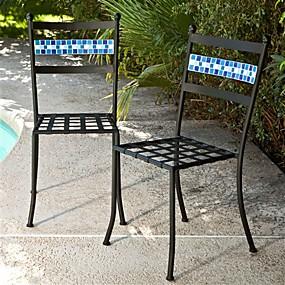 preiswerte Outdoor-Hocker-2er-Set schwarz pulverbeschichtete Patio-Bistrostühle aus Eisenmetall mit aquablauer Rückenlehne