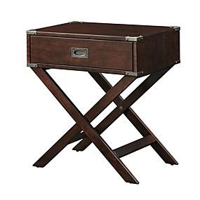 preiswerte Beistelltische-Espresso braun Holz 1 Schublade Beistelltisch Nachttisch mit x Beinen