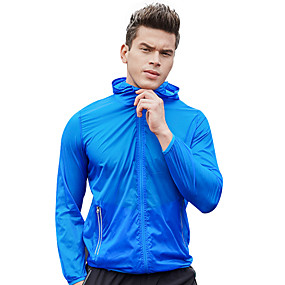 cheap Camping, Hiking & Backpacking-Men's UPF 50+ Clothing UV Sun Protection Lightweight Jacket Zip Up Hoodie Jacket Windbreaker Cooling Sun Shirt with Pockets Quick Dry Packable Coat Top Hiking Fishing Outdoor Performance