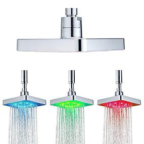 povoljno Tuš glave-6 inča trg 3 boje mijenja temperaturu vode senzor vodio tuš glavu vrh prskalica kupaonica showerheads