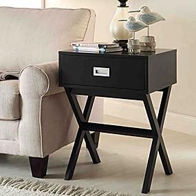 preiswerte Beistelltische-moderner Nachttisch mit 1 Schublade und Beistelltisch aus schwarzem Holz