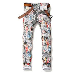 preiswerte Herrenhosen & -shorts-Herrn Punk & Gothic Chinos Hose - Mit Mustern Baumwolle Regenbogen 34 36 38
