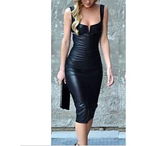 preiswerte Top Women's Clothes-Damen Party Schlank Hülle Kleid Midi Tiefes U / Sexy