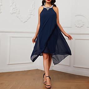 preiswerte This Summer You Are The Most Fashionable-Damen Festtage Boho Schlank A-Linie Swing Abaya Kleid - Pailletten Perlenbesetzt Chiffon Übers Knie Halter / Strand