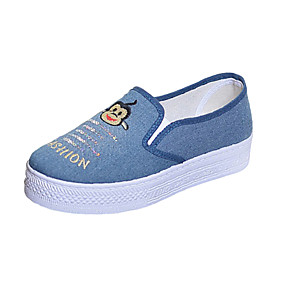 voordelige Damesinstappers & loafers-Dames Loafers & Slip-Ons Creepers Ronde Teen Canvas Informeel Zomer Lichtblauw