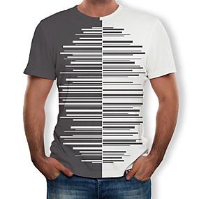 preiswerte Herrenmode-Herrn Einfarbig / 3D / Grafik - Street Schick / Übertrieben T-shirt Druck Grau