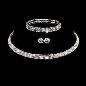 cheap Prom-Women's Silver Cubic Zirconia Jewelry Set Bridal Jewelry Sets Layered Star Stylish Luxury European Sweet Cute Earrings Jewelry Silver For Wedding Party Evening Gift Prom 4pcs
